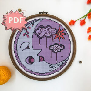 Purple Moon - beautiful modern cross stitch pattern - unique cross stitch design