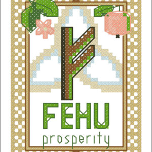 Fehu Elder Futhark rune cross stitch pattern