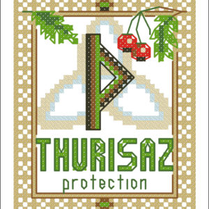 Thurisaz Elder Futhark Rune cross stitch pattern - norse skandinavian viking stitching - pagan embroidery