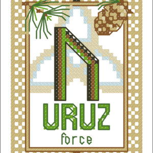 Uruz Elder Futhark Rune cross stitch pattern - norse skandinavian viking stitching - pagan embroidery