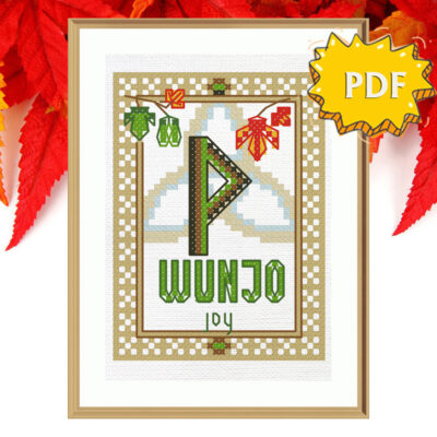Wunjo Rune cross stitch pattern