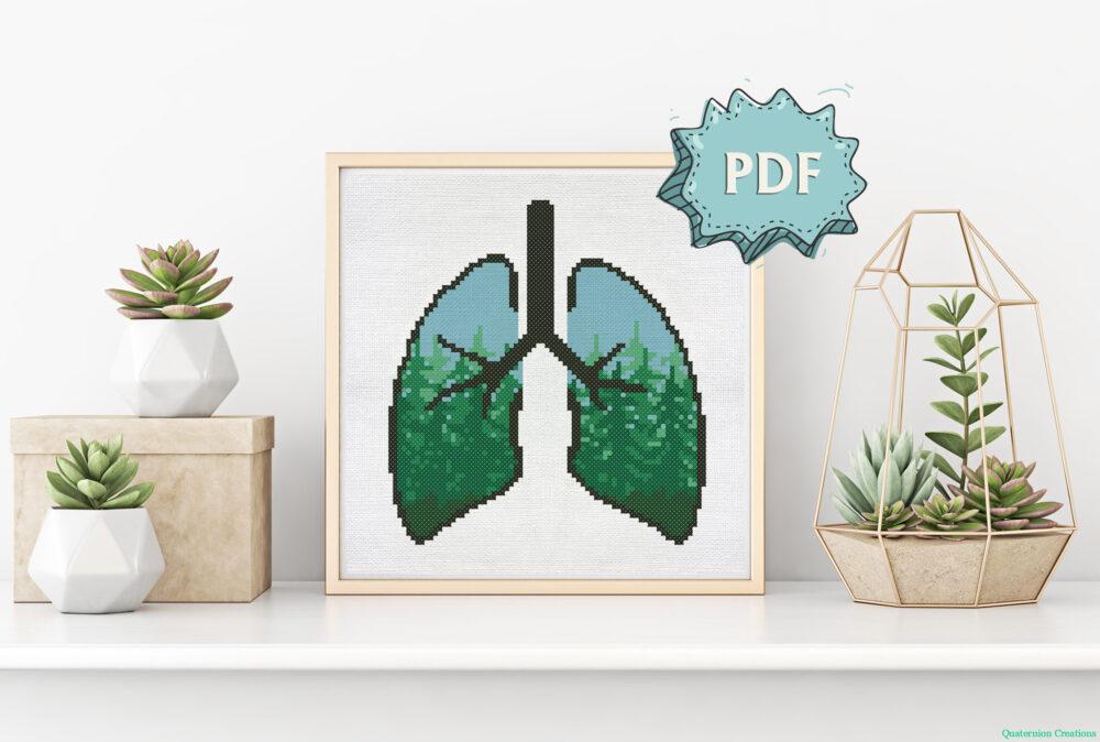 Green Lungs - modern ecological cross stitch pattern