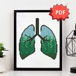 Green Lungs - modern ecological cross stitch pattern