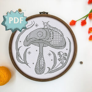 Magic Mushroom - modern blackwork pattern - unique stitching design