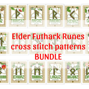 Elder Futhark Runes cross stitch patterns bundle - norse skandinavian viking stitching
