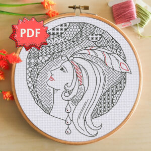 Art Deco lady - beautiful modern blackwork pattern