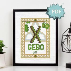 Gebo Elder Futhark Rune cross stitch pattern - norse skandinavian viking stitching - pagan embroidery