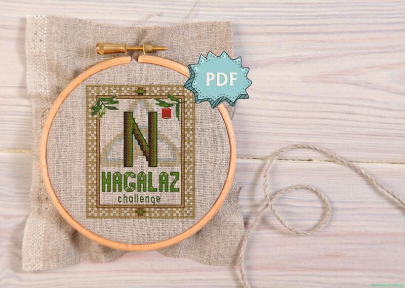 Hagalaz Elder Futhark Rune - free cross stitch pattern - norse skandinavian viking stitching - pagan embroidery