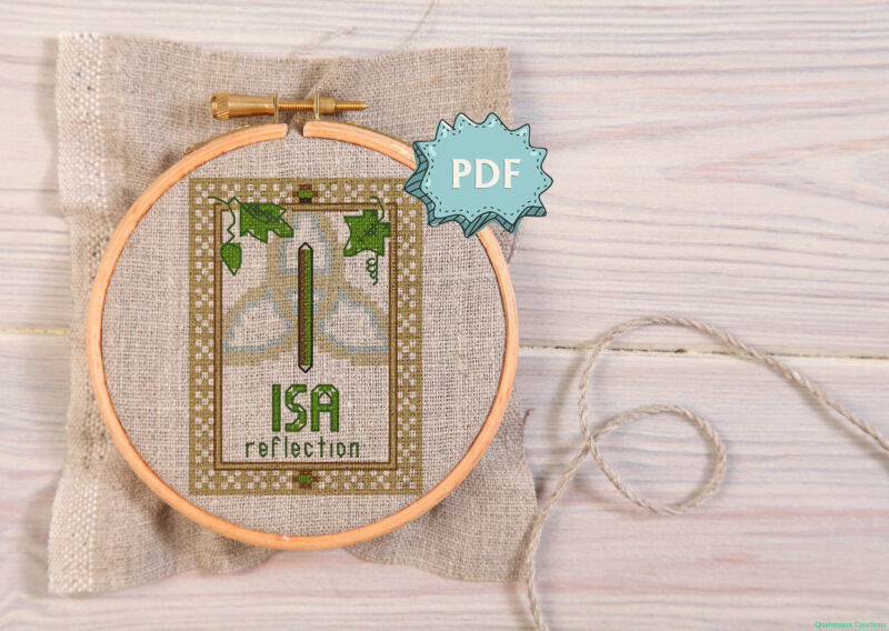 Isa (the ice) Elder Futhark Rune cross stitch pattern - norse skandinavian viking stitching - pagan embroidery