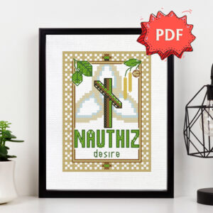 Nauthiz Elder Futhark Rune cross stitch pattern - norse skandinavian viking stitching - pagan embroidery