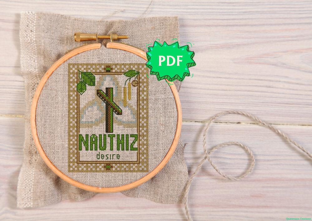 Nauthiz Elder Futhark Rune cross stitch pattern - norse skandinavian viking stitching - pagan embroidery