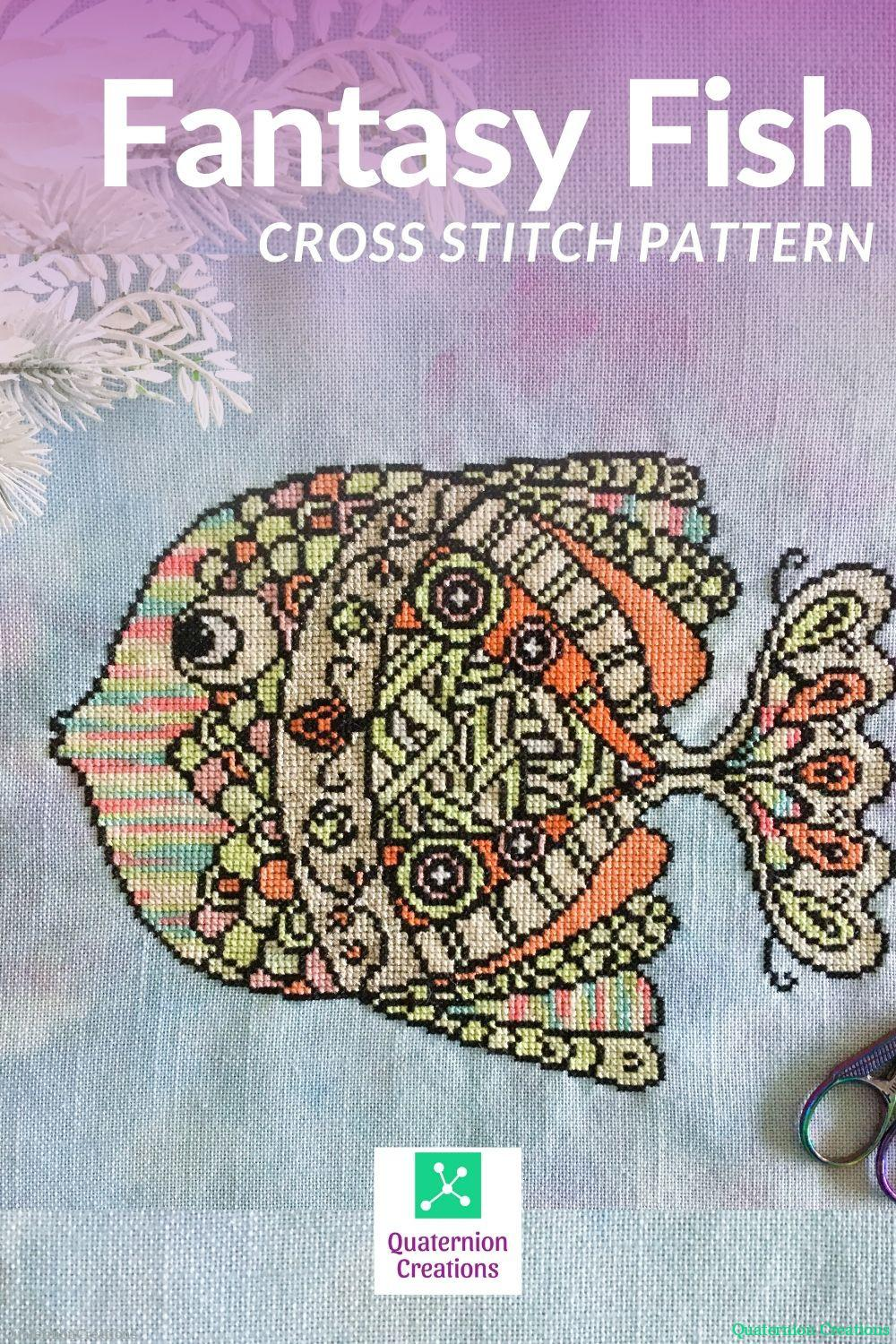 Fantasy Fish cross stitch pattern - modern embroidery - choose your own colors stitching