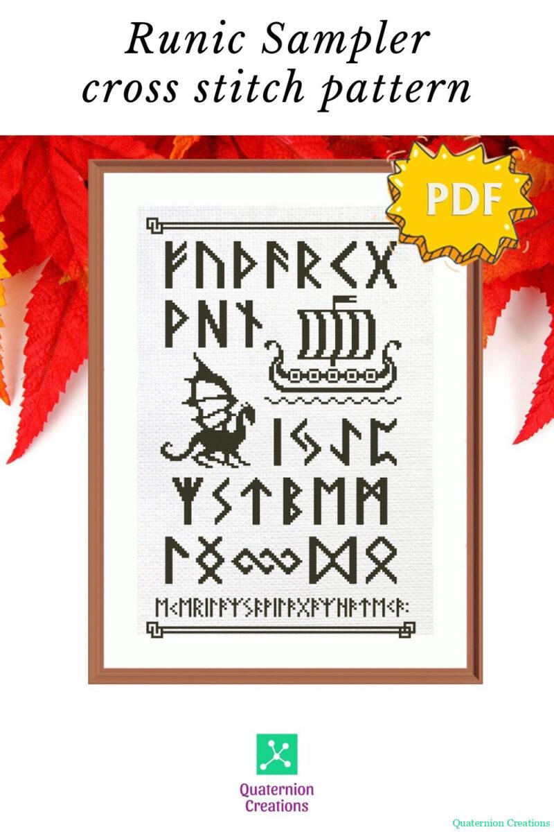 Elder Futhark Runes cross stitch sampler pattern - norse skandinavian viking stitching - modern paganism embroidery