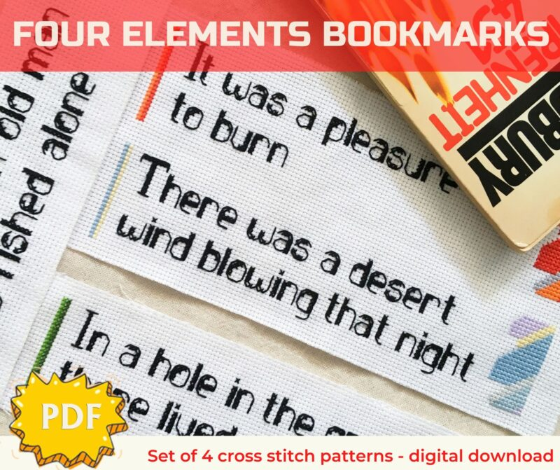 Quote bookmarks modern cross stitch patterns set of four, four elements cross stitch