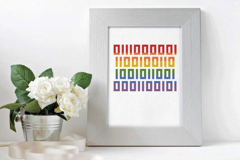 Pride in binary code - free cross stitch pattern