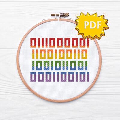 Pride in binary code - free cross stitch pattern