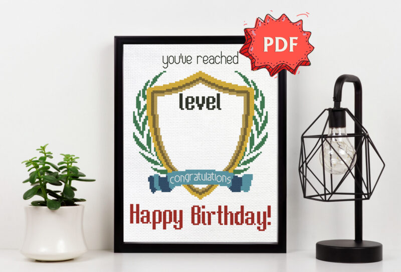 Level Up - Happy Birthday cross stitch pattern - DIY customizable cross stitch design