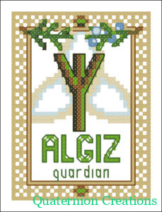 Algiz Rune - free cross stitch pattern