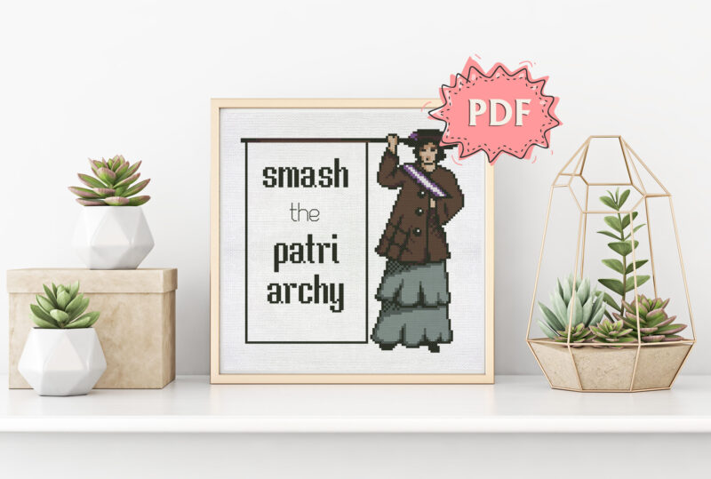 Smash the Patriarchy (The Suffragette) - feminist cross stitch pattern, modern cross stitch design