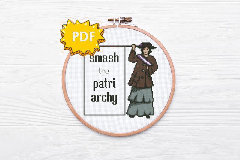 Smash the Patriarchy (The Suffragette) - feminist cross stitch pattern, modern cross stitch design