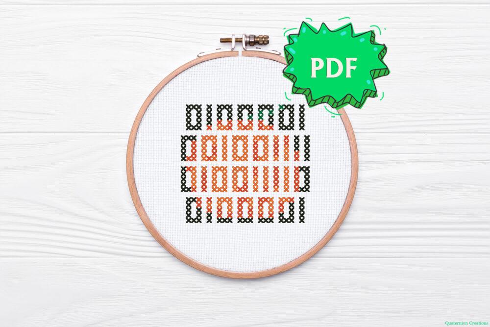 Boo in binary code geeky Halloween nerdy cross stitch pattern