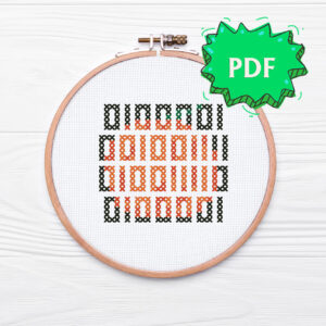 Boo in binary code geeky Halloween nerdy cross stitch pattern