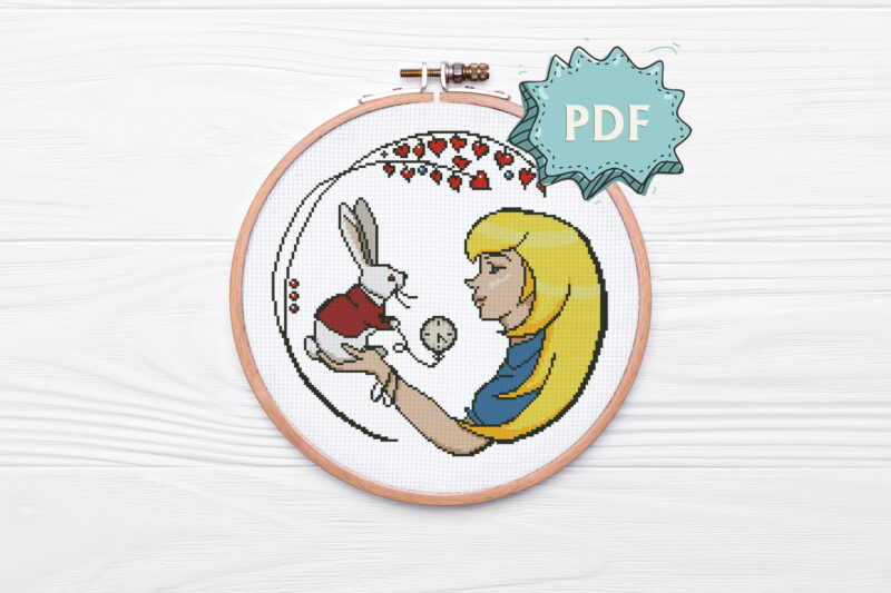 Alice and the White Rabbit - modern cross stitch pattern - Alice in Wonderland unique cross stitch design