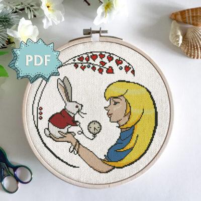 Alice and the White Rabbit - modern cross stitch pattern - Alice in Wonderland unique cross stitch design
