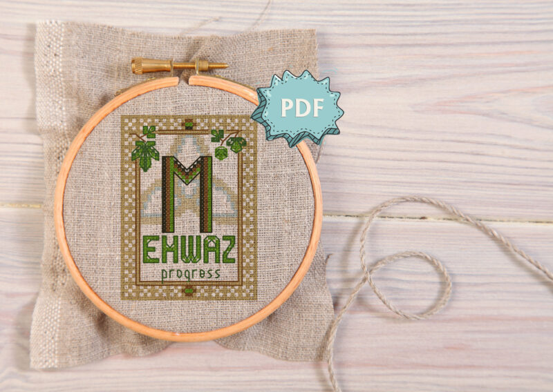 Ehwaz Elder Futhark Rune cross stitch pattern - norse skandinavian viking stitching - pagan embroidery