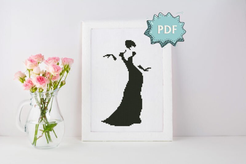 Lady Silhouette cross stitch pattern