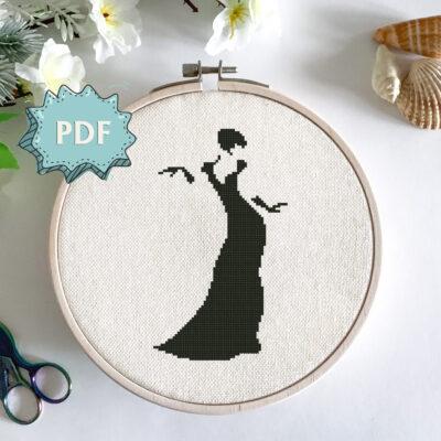 Lady Silhouette cross stitch pattern