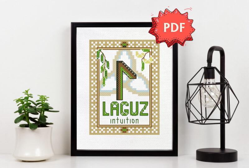 Laguz Rune cross stitch pattern