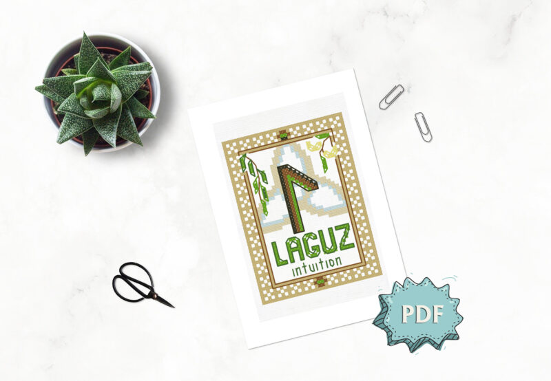 Laguz Rune cross stitch pattern