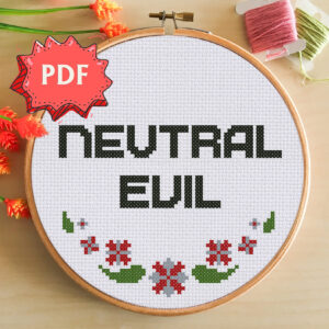 Neutral Evil cross stitch pattern