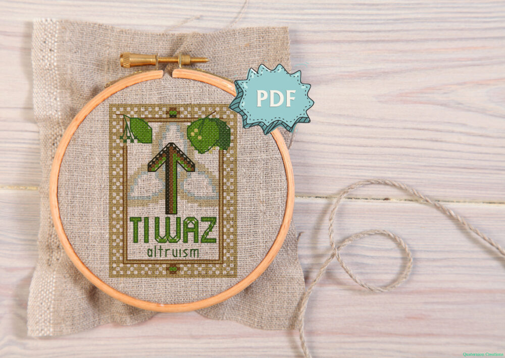 Tiwaz Elder Futhark Rune cross stitch pattern - norse skandinavian viking stitching - pagan embroidery