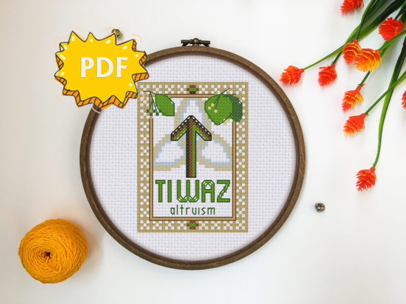 Tiwaz Elder Futhark Rune cross stitch pattern - norse skandinavian viking stitching - pagan embroidery