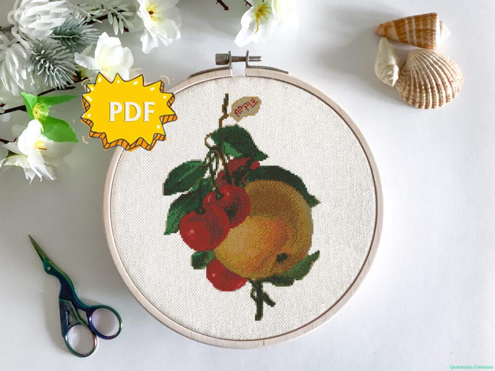 Vintage cherries and apple cross stitch pattern