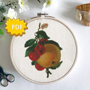 Vintage cherries and apple cross stitch pattern