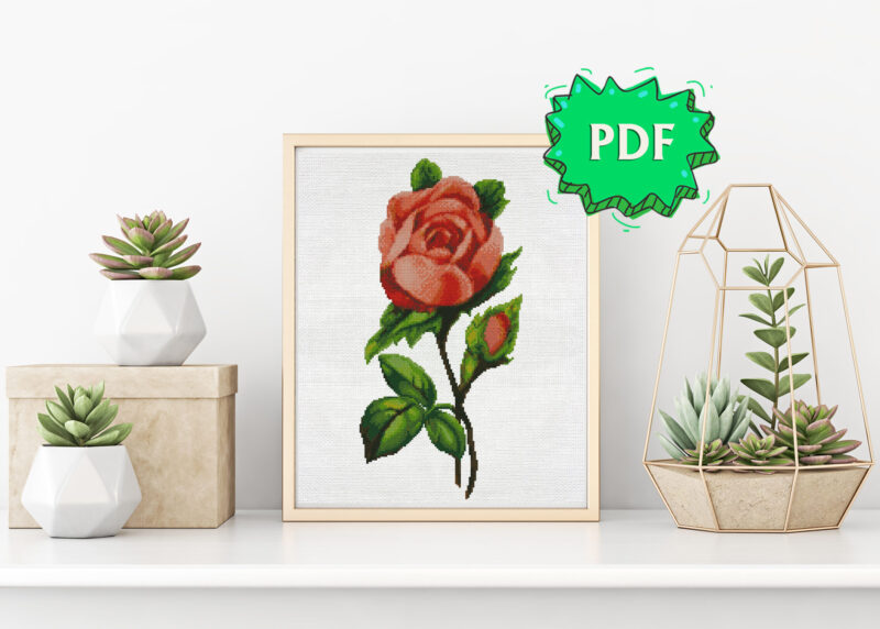 Vintage botanical rose cross stitch pattern