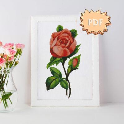 Vintage botanical rose cross stitch pattern