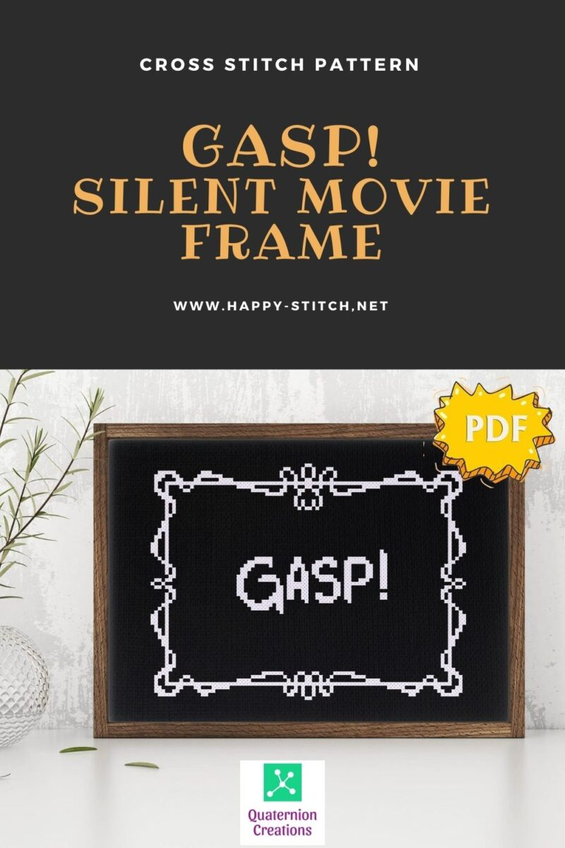 Gasp! A cross stitch design inspired by silent movies frames