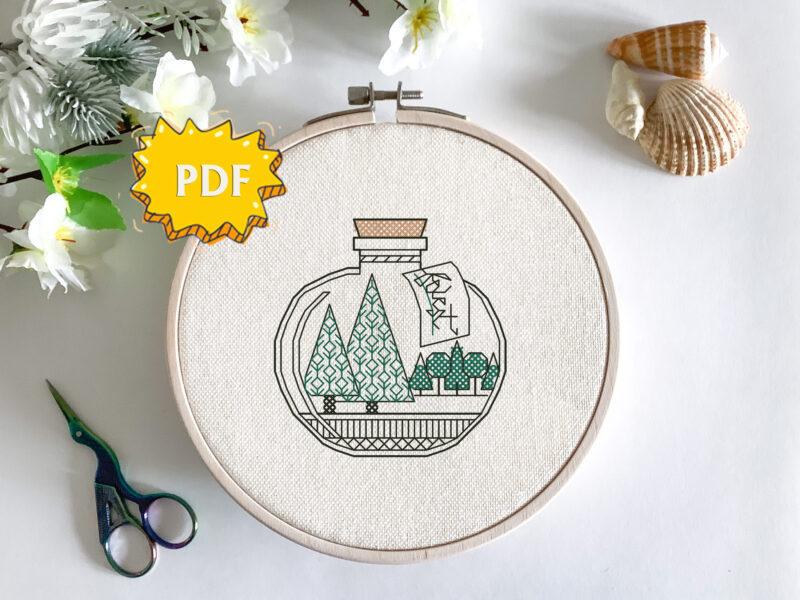 Bottled Forest blackwork embroidery pattern - easy modern cross stitch design