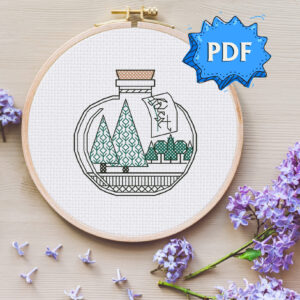 Bottled Forest blackwork embroidery pattern - easy modern cross stitch design