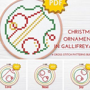 Gallifreyan Christmas cross stitch bundle - set of four ornaments in circular gallifreyan language - Love, Joy, Noel, Christmas