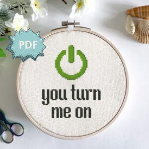 You turn me on - a beginner-friendly cross stitch pattern