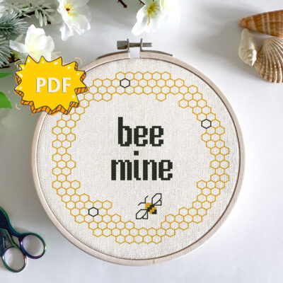 Bee mine modern funny cross stitch pattern - blackwork stitching