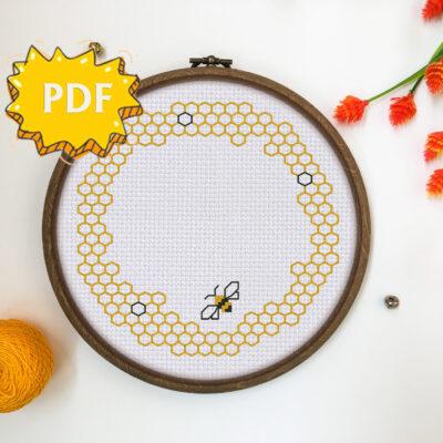 Bee Wreath cross stitch pattern PDF - blackwork stitching border - modern cross stitch embroidery