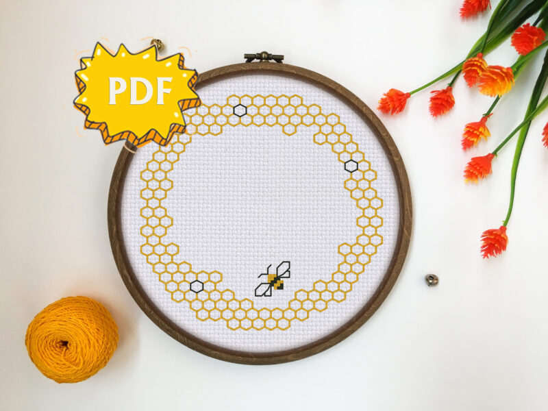 Bee Wreath cross stitch pattern PDF - blackwork stitching border - modern cross stitch embroidery
