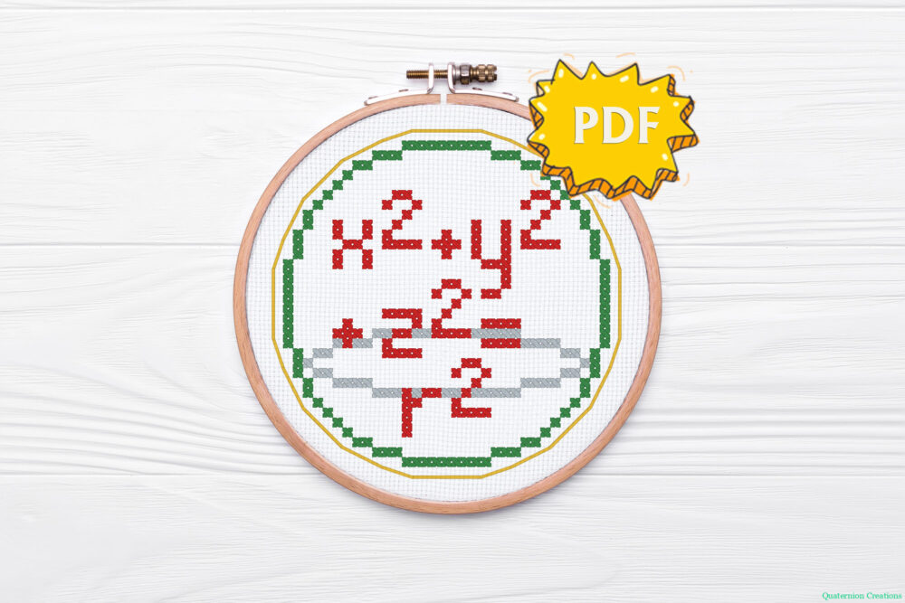 Math Christmas cross stitch bundle - set of five mathematical ornaments - cross stitch patterns formulae for circle and sphere