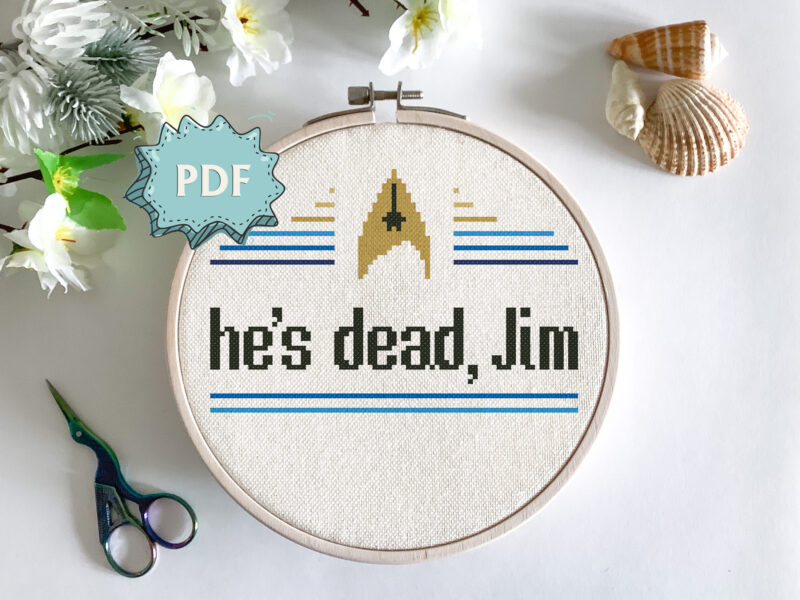 He's dead, Jim - a modern cross stitch pattern - Star Trek TOS inspired cross stitch design